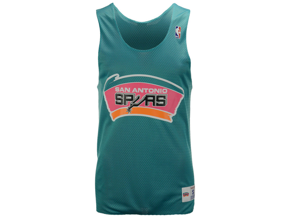 35a0109eb36 ... Jersey Black San Antonio Spurs Mitchell Ness NBA Mens Drop Step  Reversible Mesh Tank ...