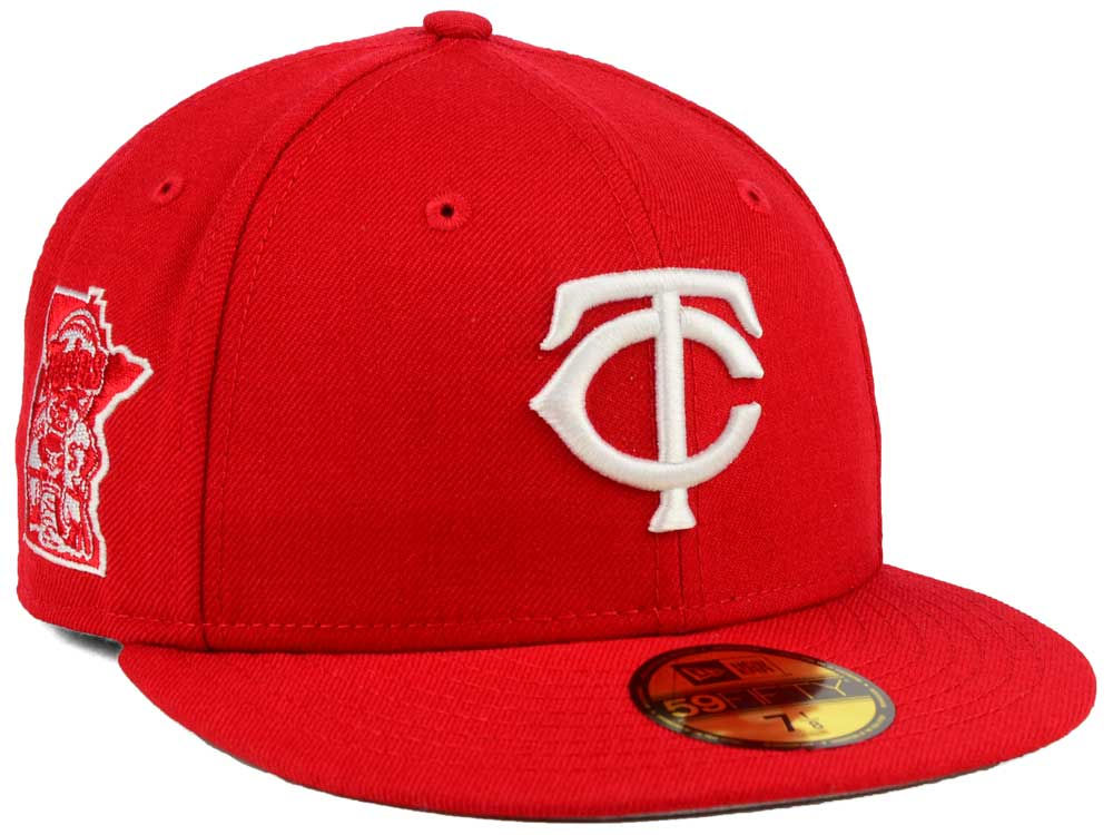 timeless design c1593 34cc8 closeout red minnesota new era twins mlb c dub 59fifty cap 75303 c6fd7