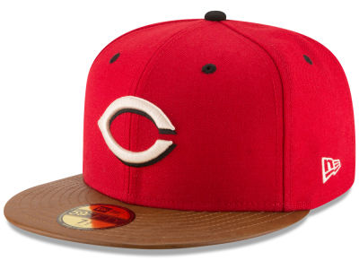 Cincinnati Reds New Era MLB Leather Banner Patch 59FIFTY Cap