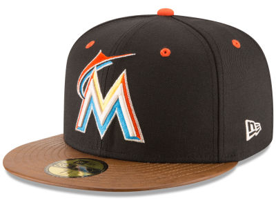 Miami Marlins New Era MLB Leather Banner Patch 59FIFTY Cap