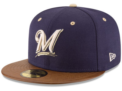 Milwaukee Brewers New Era MLB Leather Banner Patch 59FIFTY Cap