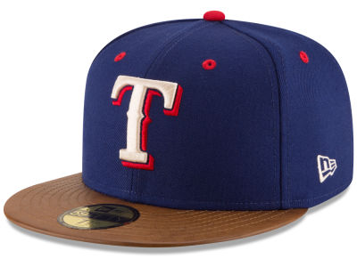 Texas Rangers New Era MLB Leather Banner Patch 59FIFTY Cap