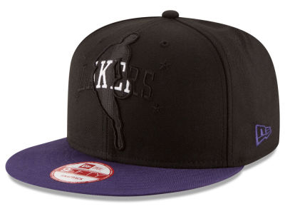 Los Angeles Lakers New Era NBA HWC Logoman Blackout 9FIFTY Snapback Cap
