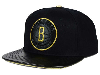 Brooklyn Nets Pro Standard NBA Black & Gold Premium Leather Strapback Hat