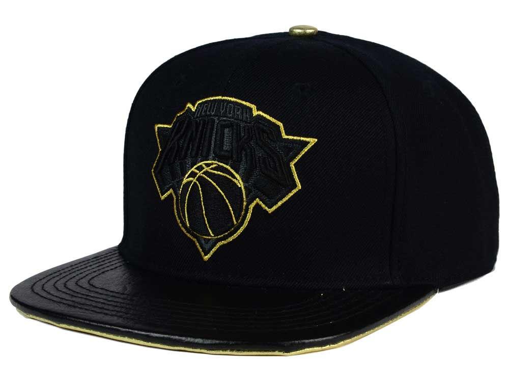 finest selection bf040 a89fb ... australia new york knicks pro standard nba black gold premium leather  strapback hat lids 72665 22487