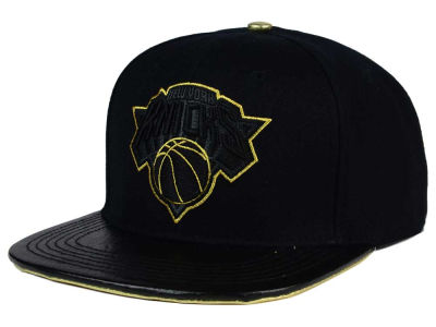 New York Knicks Pro Standard NBA Black & Gold Premium Leather Strapback Hat