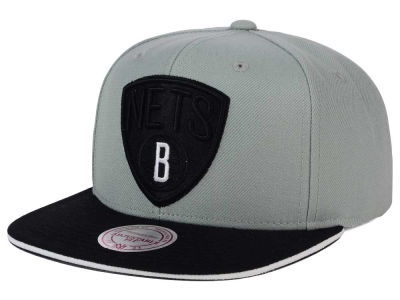 Brooklyn Nets Mitchell and Ness NBA XL Grayout Snapback Cap