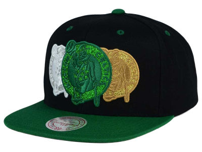 Boston Celtics Mitchell and Ness NBA Triple Stack Metallic Snapback Cap