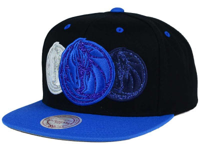 Dallas Mavericks Mitchell and Ness NBA Triple Stack Metallic Snapback Cap