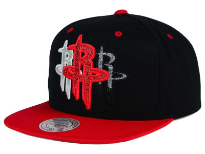 Houston Rockets Mitchell and Ness NBA Triple Stack Metallic Snapback Cap