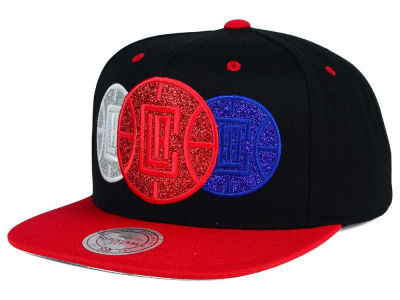 Los Angeles Clippers Mitchell and Ness NBA Triple Stack Metallic Snapback Cap