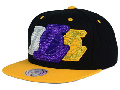 Los Angeles Lakers Mitchell and Ness NBA Triple Stack Metallic Snapback Cap