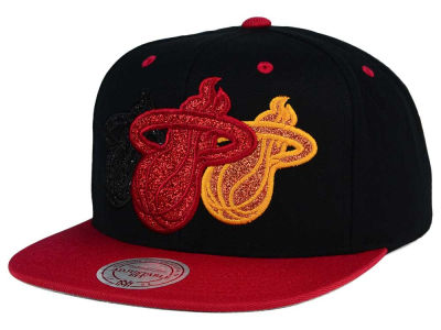 Miami Heat Mitchell and Ness NBA Triple Stack Metallic Snapback Cap