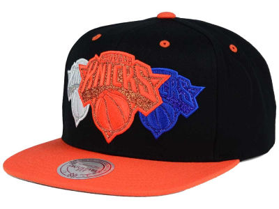 New York Knicks Mitchell and Ness NBA Triple Stack Metallic Snapback Cap