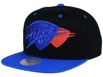 Oklahoma City Thunder Mitchell and Ness NBA Triple Stack Metallic Snapback Cap