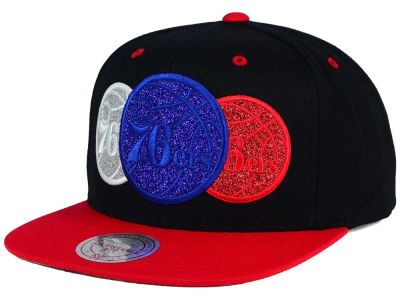 Philadelphia 76ers Mitchell and Ness NBA Triple Stack Metallic Snapback Cap