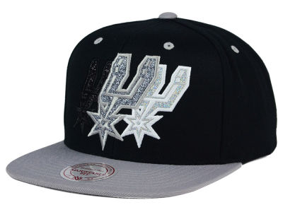 San Antonio Spurs Mitchell and Ness NBA Triple Stack Metallic Snapback Cap