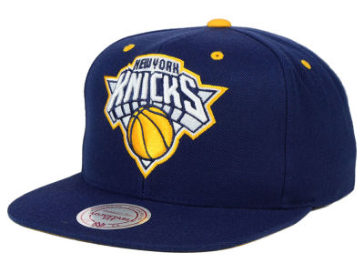 New York Knicks Mitchell and Ness NBA Navy & Yellow Snapback Cap