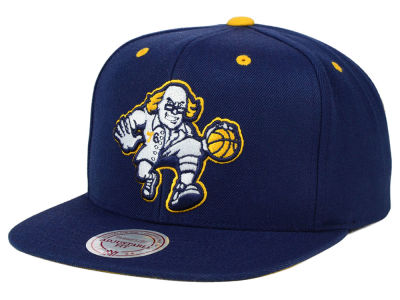 Philadelphia 76ers Mitchell and Ness NBA Navy & Yellow Snapback Cap