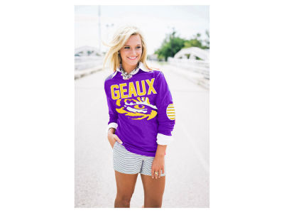 LSU Tigers NCAA Women's Puff Print Elbow Patch Long Sleeve T-Shirt