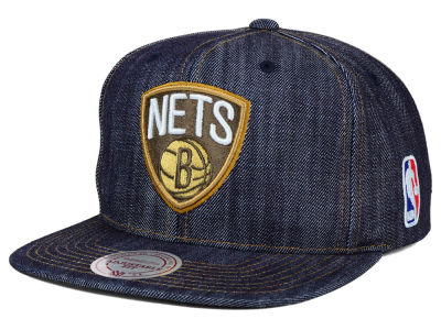 Brooklyn Nets Mitchell and Ness NBA Dark Denim Snapback Cap