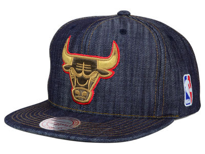 Chicago Bulls Mitchell and Ness NBA Dark Denim Snapback Cap