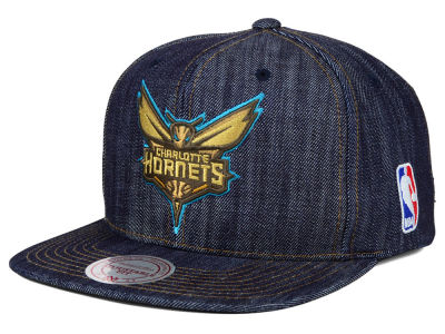 Charlotte Hornets Mitchell and Ness NBA Dark Denim Snapback Cap