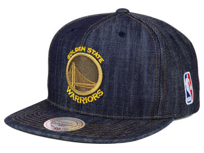 Golden State Warriors Mitchell and Ness NBA Dark Denim Snapback Cap