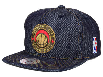 New Orleans Pelicans Mitchell and Ness NBA Dark Denim Snapback Cap
