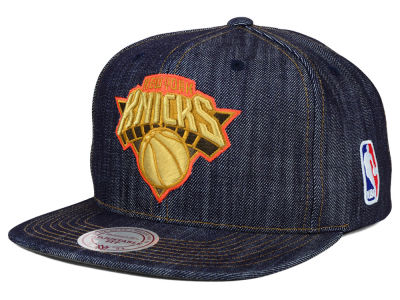 New York Knicks Mitchell and Ness NBA Dark Denim Snapback Cap
