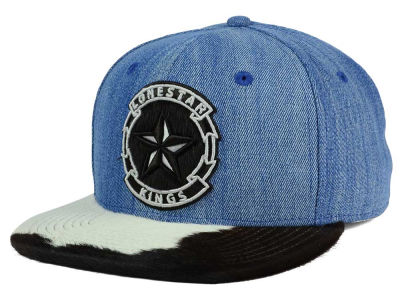 Lone Star Kings Denim Cowhide Snapback Cap
