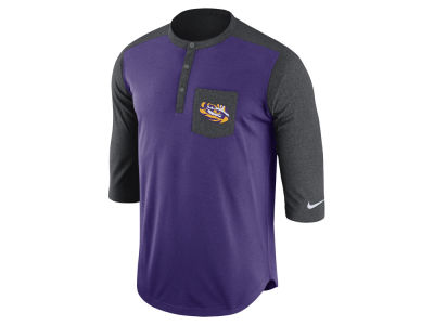 LSU Tigers Nike NCAA Men's Dri-Fit Touch Henley Shirt