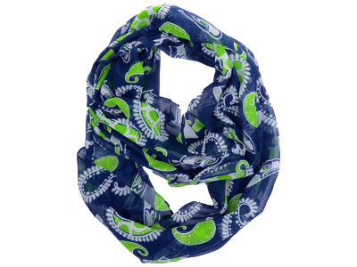 Seattle Seahawks All Over Logo Paisley Infinity Scarf