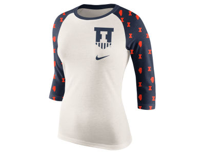 Illinois Fighting Illini Nike NCAA Women's Triblend Veer Raglan T-Shirt