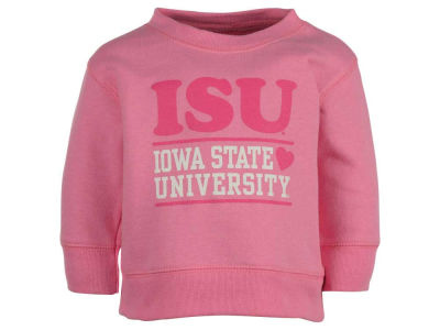 Iowa State Cyclones NCAA Infant Girls Pink Hearts Crew Fleece Sweatshirt