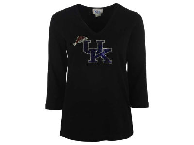 Kentucky Wildcats Ornament NCAA Women's Bling Santa Cap V-Neck 3/4 Sleeve T-Shirt