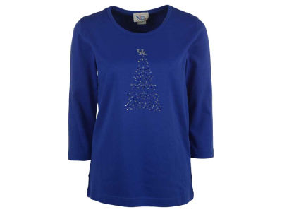 Kentucky Wildcats Ornament NCAA Women's Bling Christmas Tree Plus Size 3/4 Sleeve T-Shirt