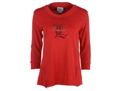 Louisville Cardinals Ornament NCAA Women's Bling Logo Bottom Zip Long Sleeve Tunic Shirt