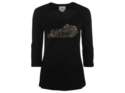 Kentucky Wildcats Ornament NCAA Women's Confetti Bling State Home 3/4 Sleeve T-Shirt