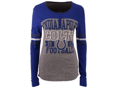 Indianapolis Colts 5th & Ocean NFL Women's Henley Long Sleeve T-Shirt