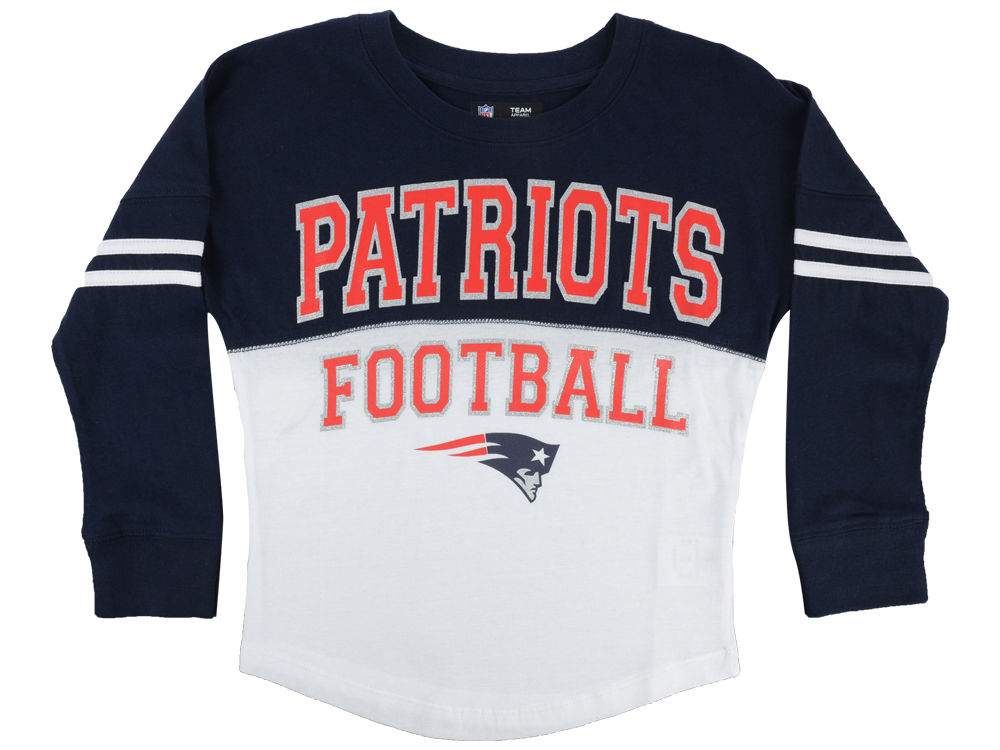 New England Patriots 5th   Ocean NFL Youth Girls Sweeper Long Sleeve T-Shirt   71c787069