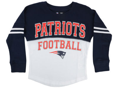 New England Patriots 5th & Ocean NFL Youth Girls Sweeper Long Sleeve T-Shirt