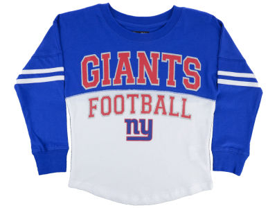New York Giants 5th & Ocean NFL Youth Girls Sweeper Long Sleeve T-Shirt