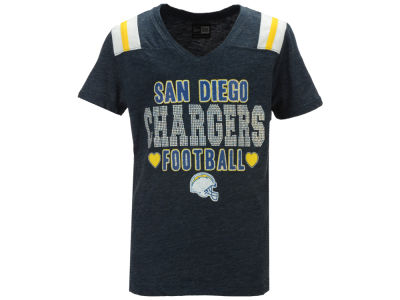 San Diego Chargers 5th & Ocean NFL Youth Girls Heart Football T-Shirt