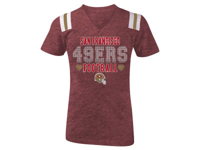 San Francisco 49ers 5th & Ocean NFL Youth Girls Heart Football T-Shirt