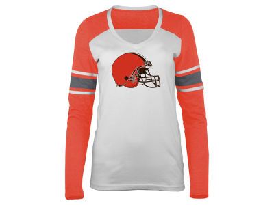 Cleveland Browns 5th & Ocean NFL Women's Back Block Long Sleeve T-Shirt
