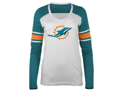 Miami Dolphins 5th & Ocean NFL Women's Back Block Long Sleeve T-Shirt
