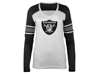 Oakland Raiders 5th & Ocean NFL Women's Back Block Long Sleeve T-Shirt