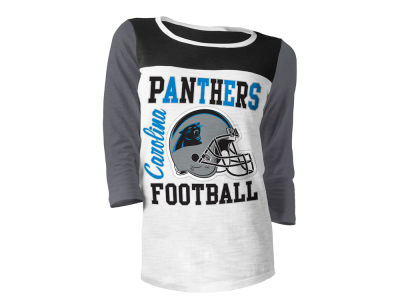 Carolina Panthers 5th & Ocean NFL Women's Glitter 3/4 Sleeve T-Shirt