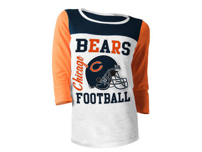 Chicago Bears 5th & Ocean NFL Women's Glitter 3/4 Sleeve T-Shirt